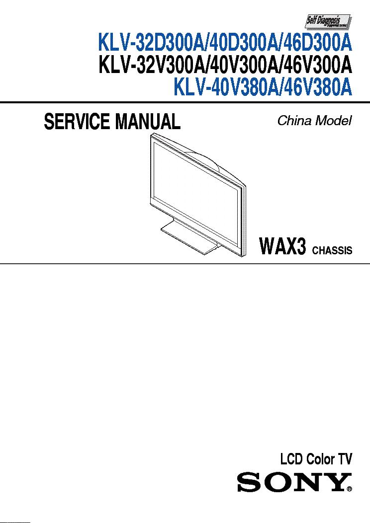 SONY KLV-32D300A 40D300A 46D300A 32V300A 40V300A 46V300A