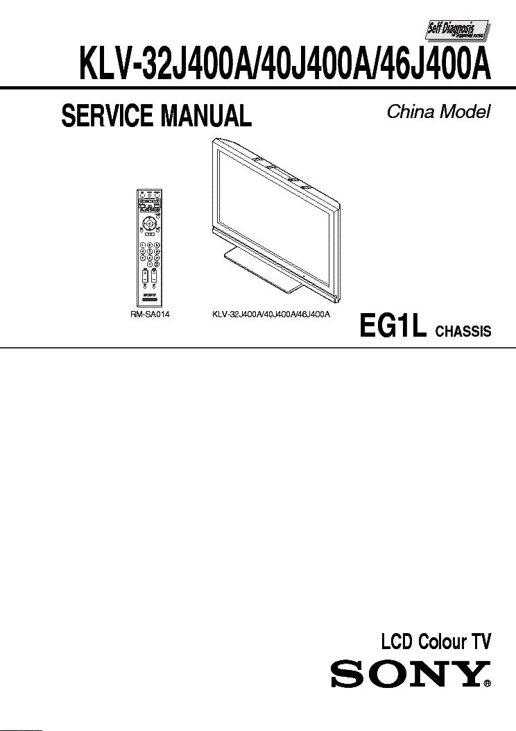 SONY KLV-32J400A,-40J400A,-46J400A EG1L LCD Service Manual