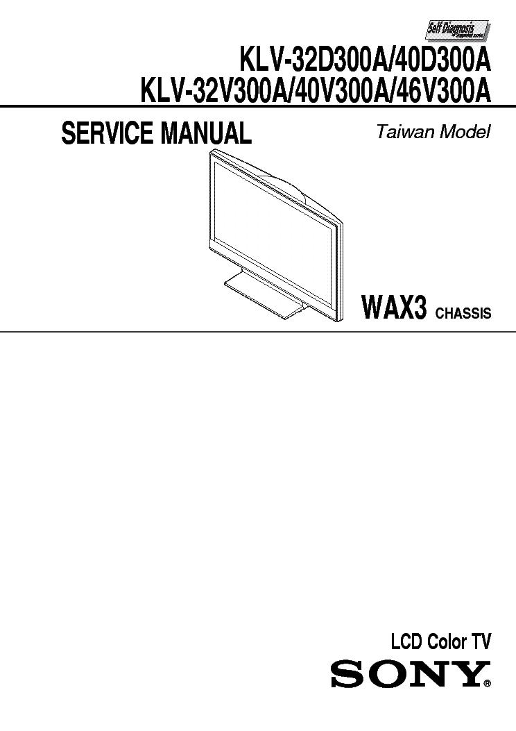 SONY KLV-40D-40V300A Service Manual download, schematics