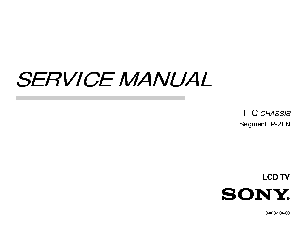 SONY KLV-40EX430 CHASSIS ITC Service Manual download