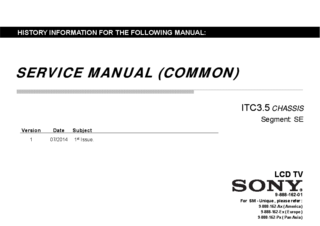 SONY KLV-40R352B CHASSIS ITC3.5 SM Service Manual download