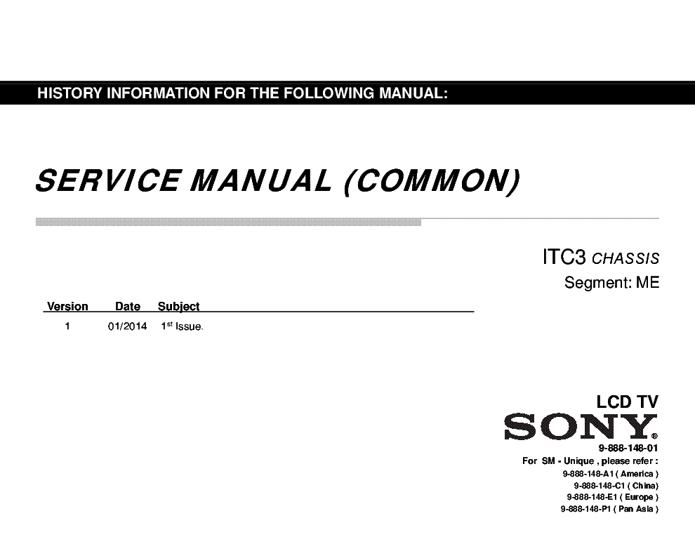 SONY KLV-40R482B CHASSIS ITC3 Service Manual download