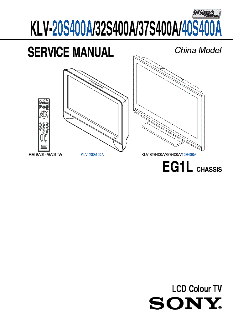 SONY KLV-40S400A Service Manual download, schematics