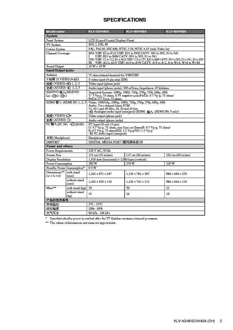 SONY KLV-40V440A KLV-46V440A KLV-52V440A CHASSIS EX1