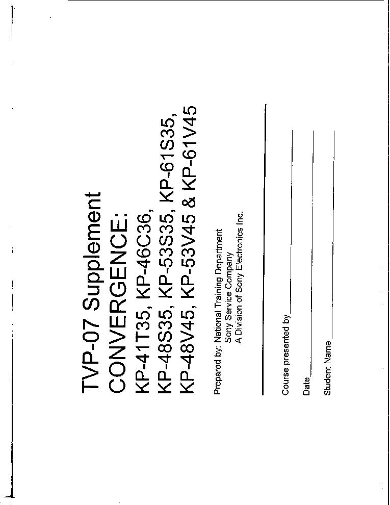 SONY KP41T35 46C36 48S35 53S35 61S35 48V45 53V45 61V45
