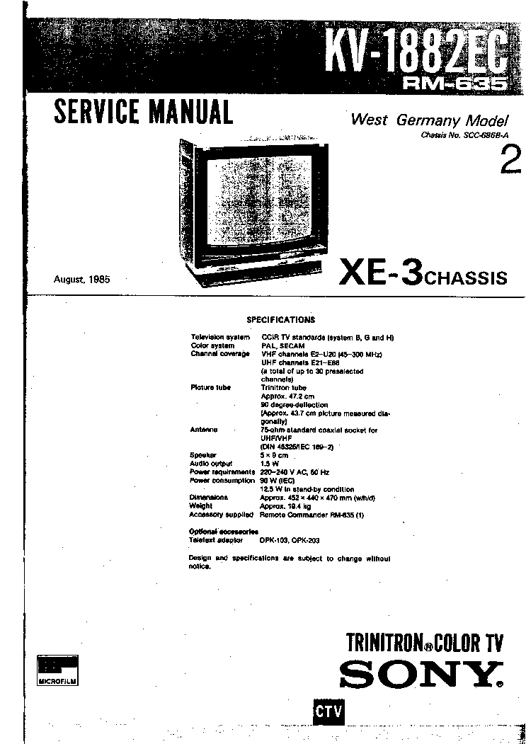 SONY KV-2553MT Service Manual download, schematics, eeprom