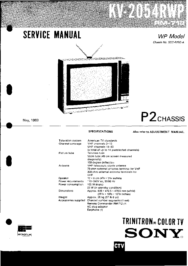 SONY KV-2054RWP CH P2 Service Manual download, schematics