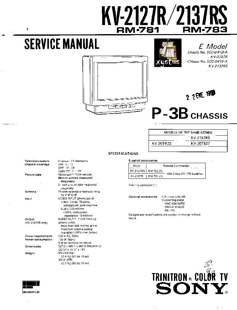 SONY KV-M2100K Service Manual download, schematics, eeprom
