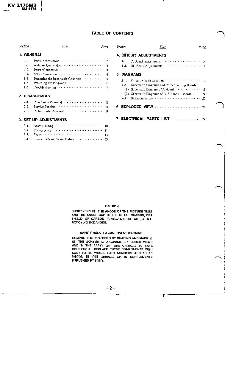 hight resolution of sony kv 2170m3 2193m3 2184mt 2194mt ch gp 1a service manual