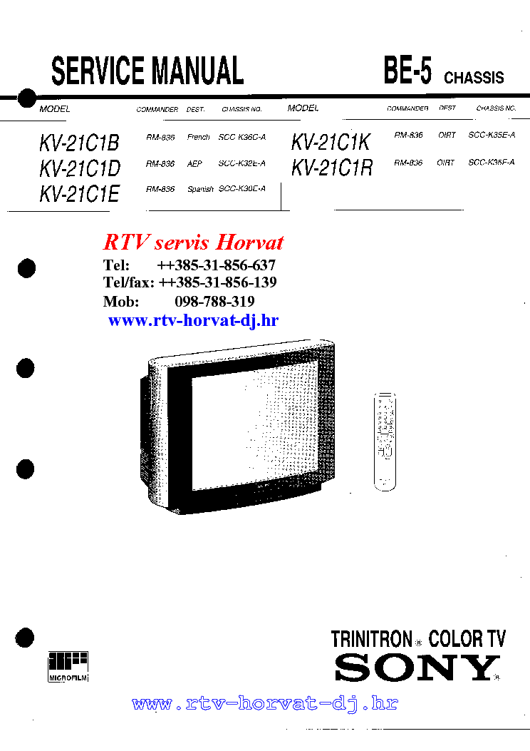 SONY KV-21C1 BE 5 SASSZI SM Service Manual download