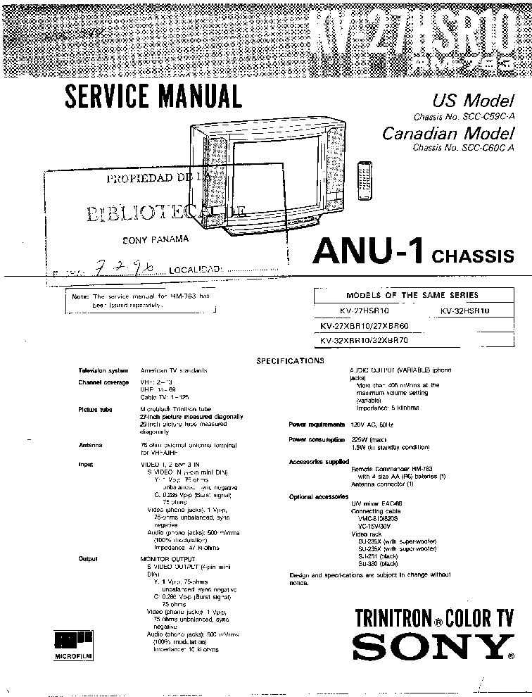 SONY KV-27HSR10 CH ANU-1 Service Manual download