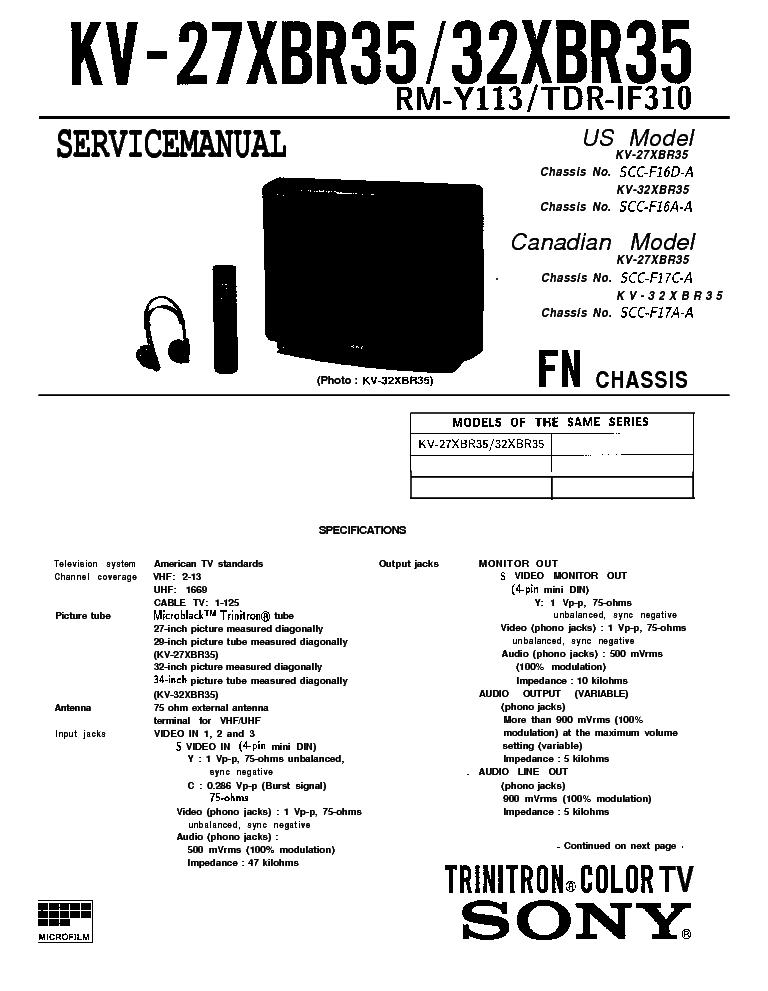 SONY KV-27XBR35 KV-32XBR35 CHASSIS FN SCC-F16A SCC-F17C