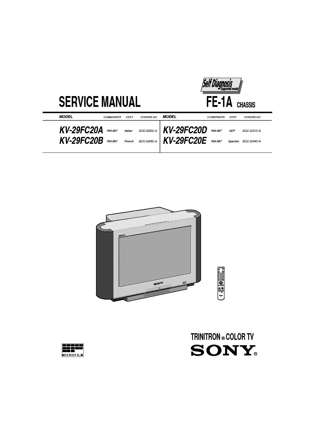 SONY KV-20FS12 CHASSIS BA-5 TRAINING-MANUAL Service Manual