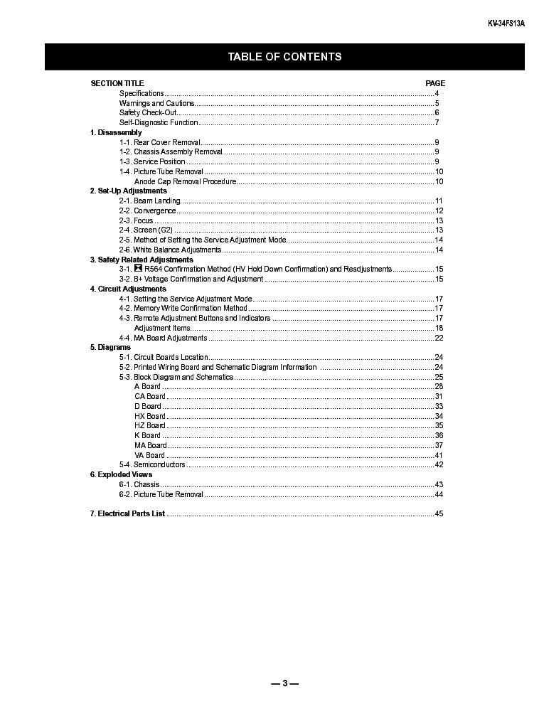 SONY KV-34FS13A Service Manual download, schematics