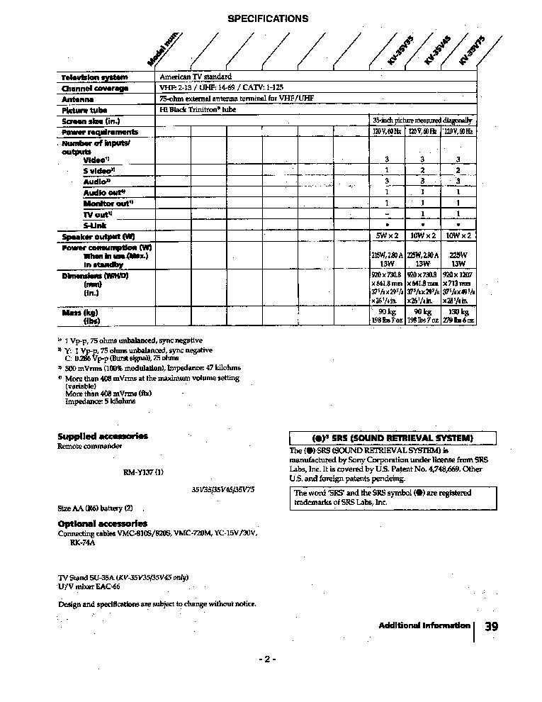 SONY KV-35V35 35V45 35V75 CH AA-2 SM Service Manual