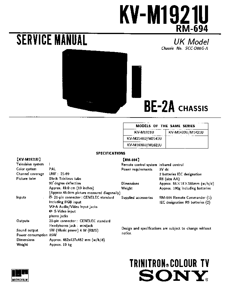 SONY BG-2S-CHASSIS-KV-G21M2 Service Manual download