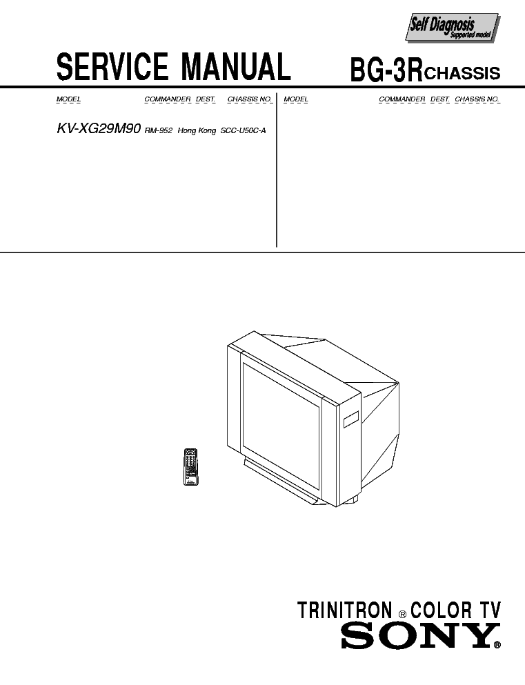 SONY KV-XG29M90 SM Service Manual download, schematics