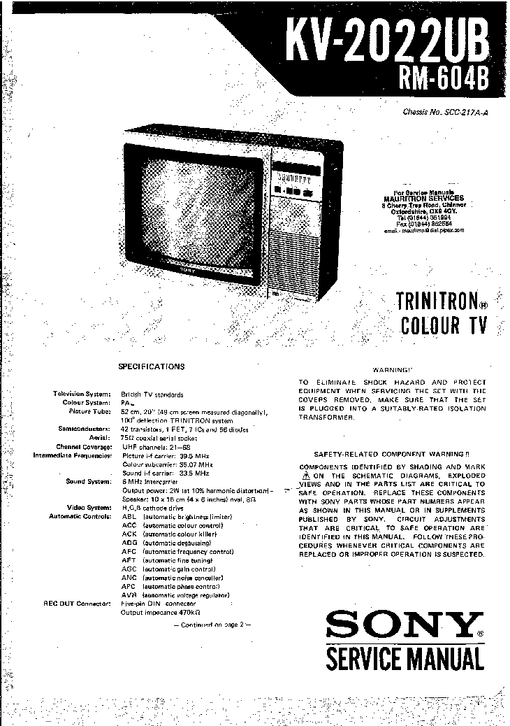 SONY KV2022UB Service Manual download, schematics, eeprom