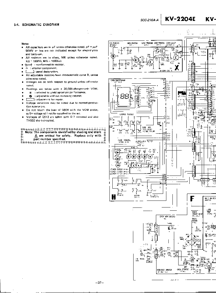 SONY KV2204E TV D Service Manual download, schematics