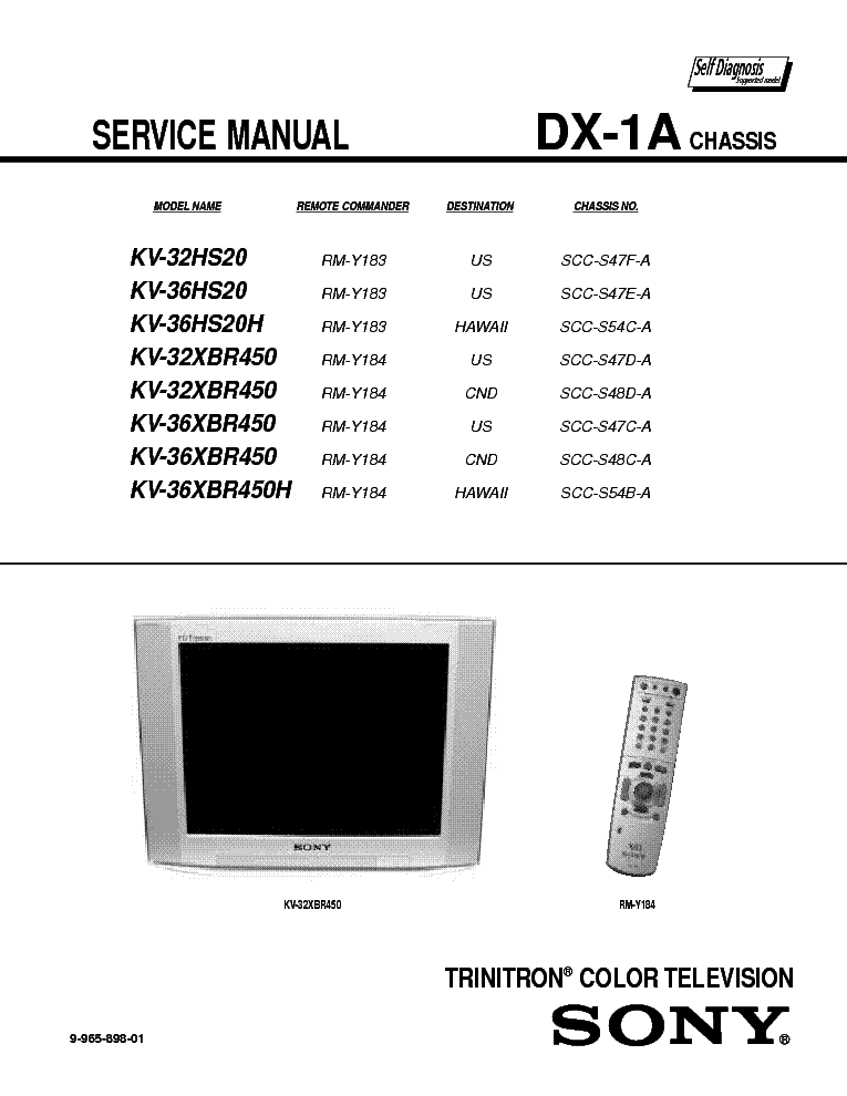 Where Can I Get Service Manual Schematic Diagram For Sony Tv Kv Hs29
