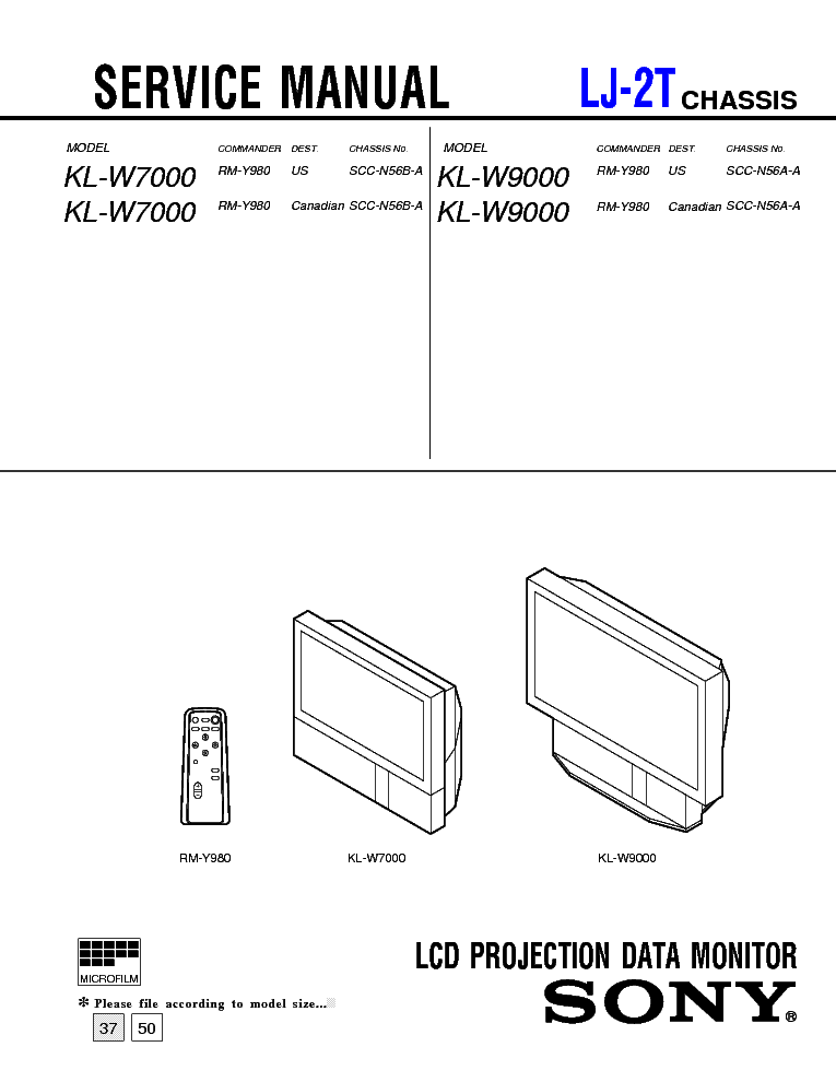 SONY LJ2T CHASSIS KLW7000 LCD PROJECTION Service Manual