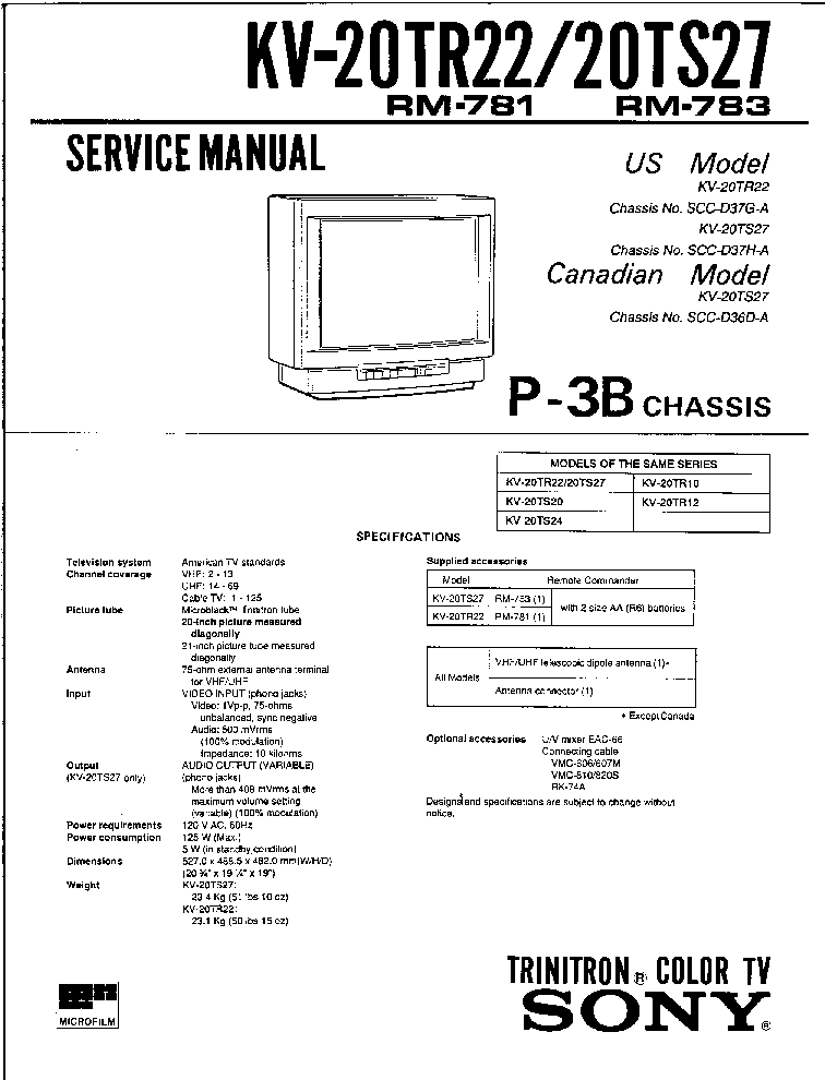 SONY P3B CHASSIS KV20TR22 Service Manual download