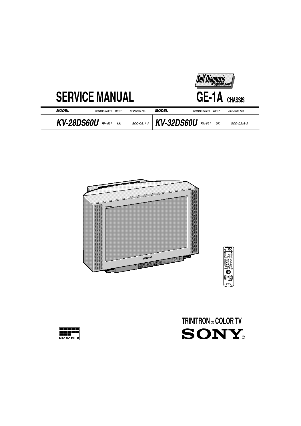 SONY TV KV-28 32DS60-GE-1A CHASSIS SM Service Manual
