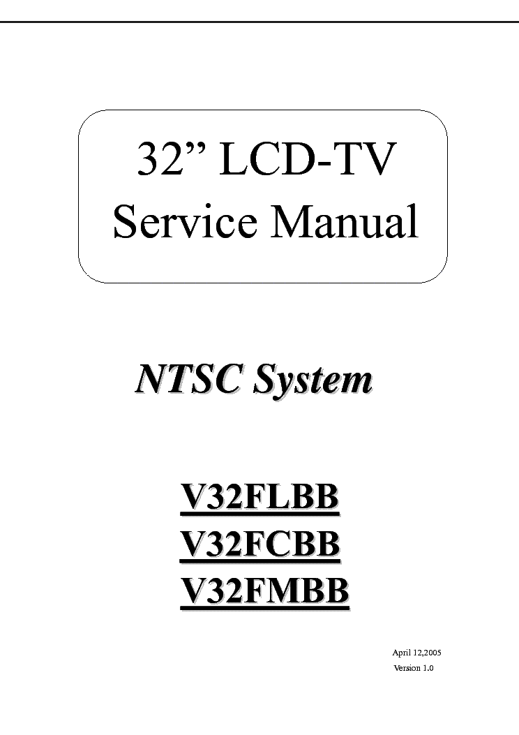 TATUNG V32FLBB V32FCBB V32FMBB TV SM Service Manual