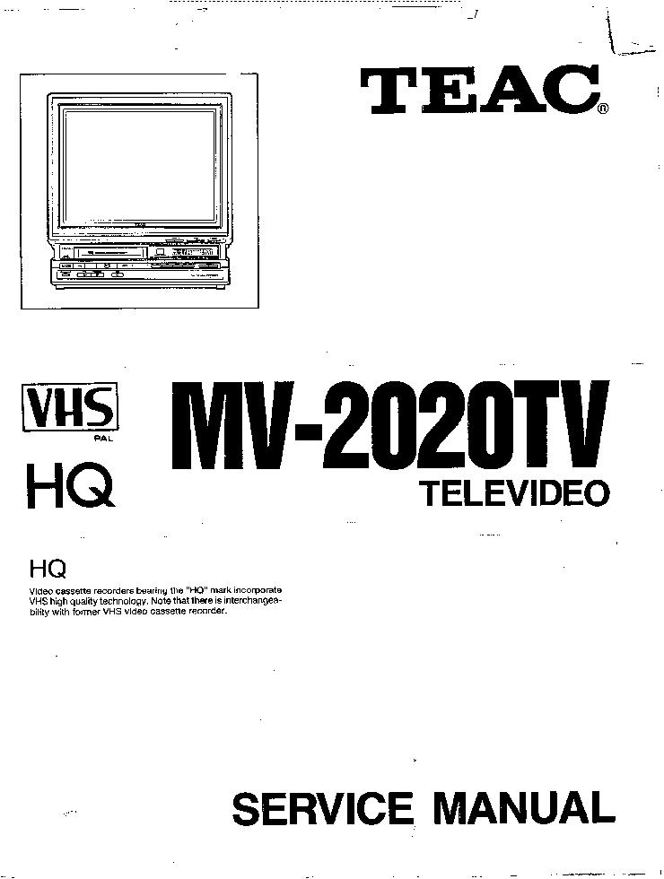 TEAC MV-2020TV Service Manual download, schematics, eeprom