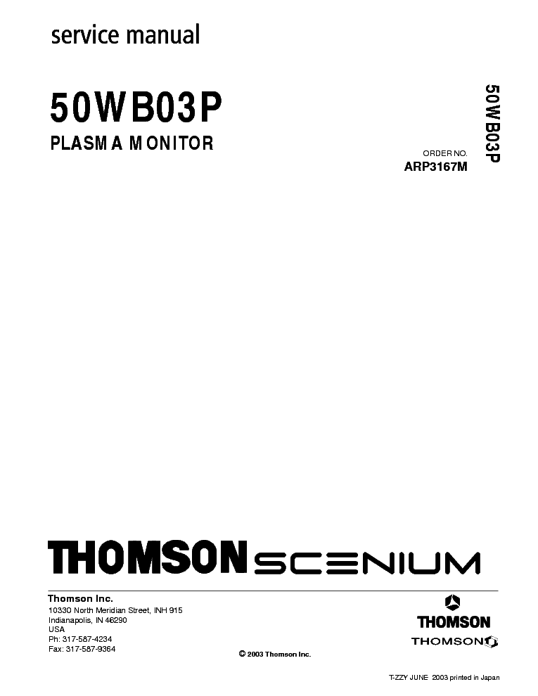 THOMSON 21DG170G-TX807CS Service Manual free download