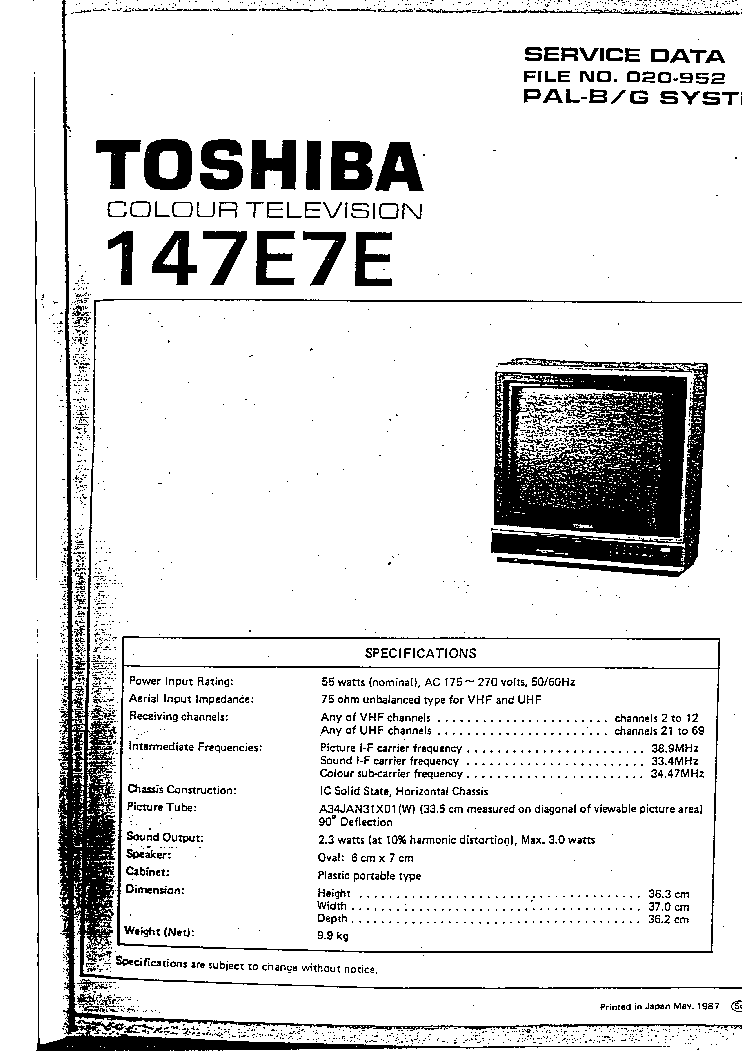 TOSHIBA 147E7E Service Manual download, schematics, eeprom