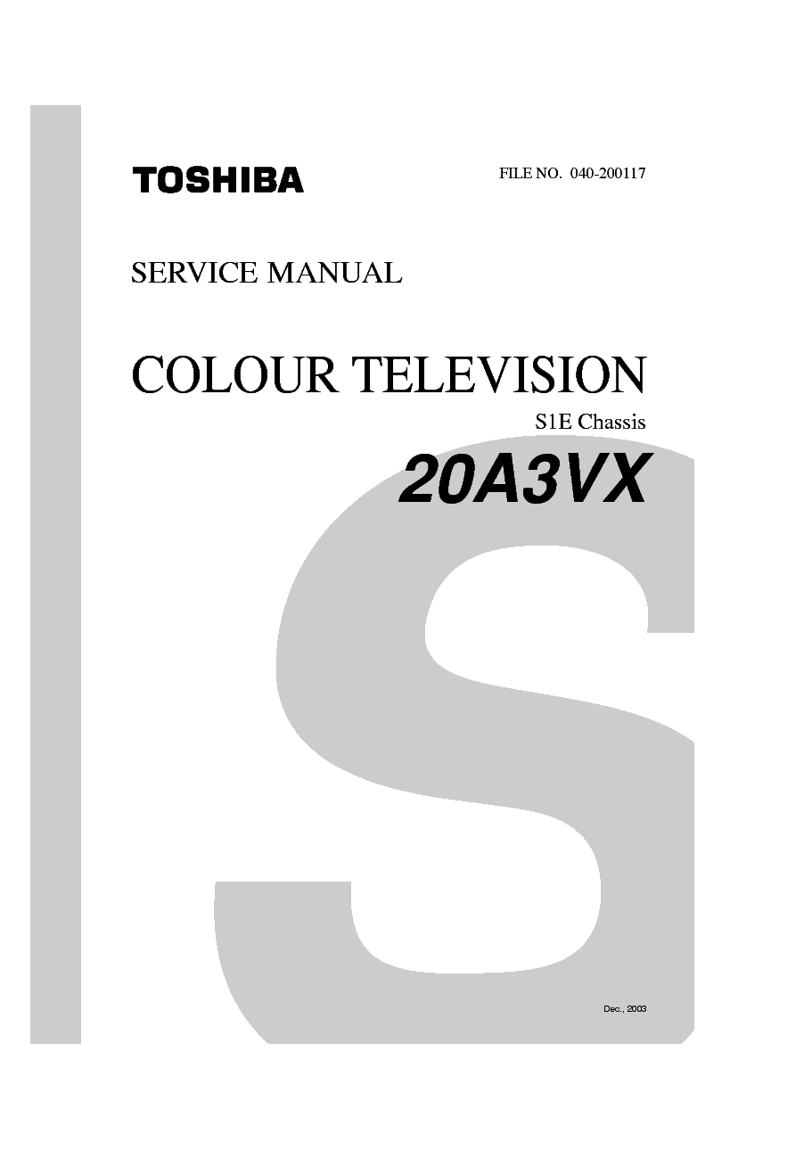 TOSHIBA 20A3VX CHASSIS S1E Service Manual download