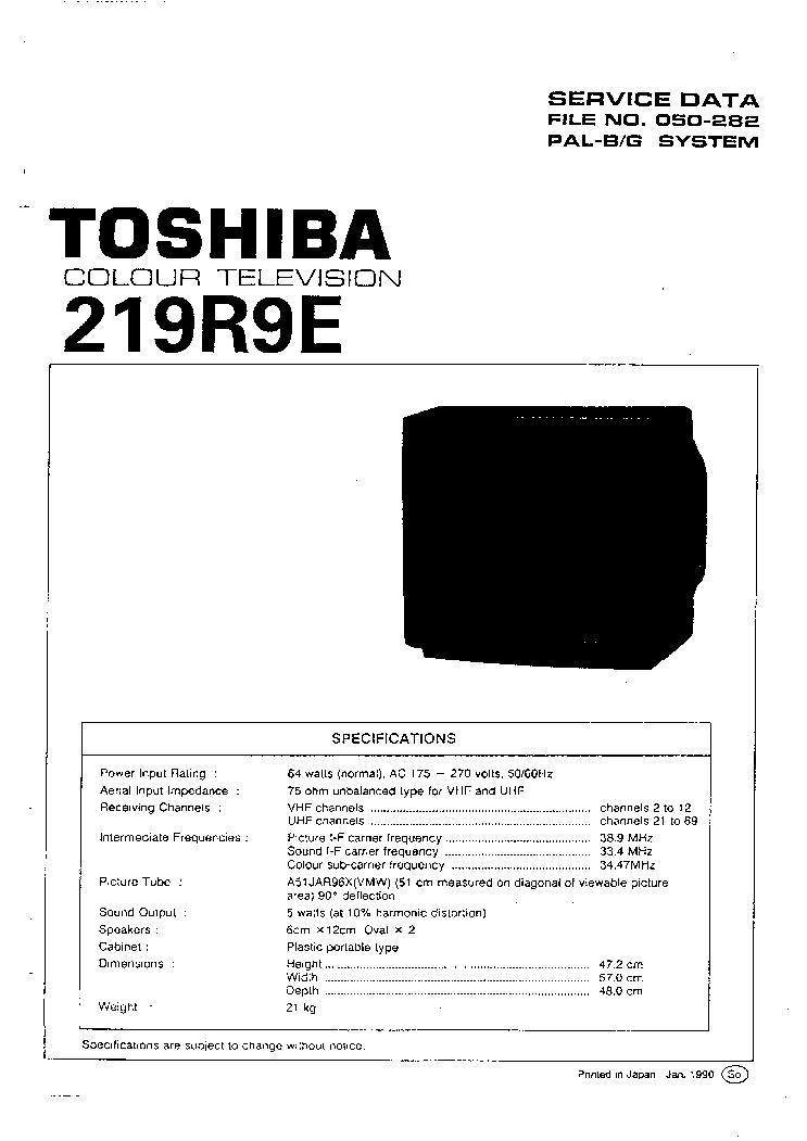 TOSHIBA TV-2981,2987,2999,3489 CH LEM7 Service Manual