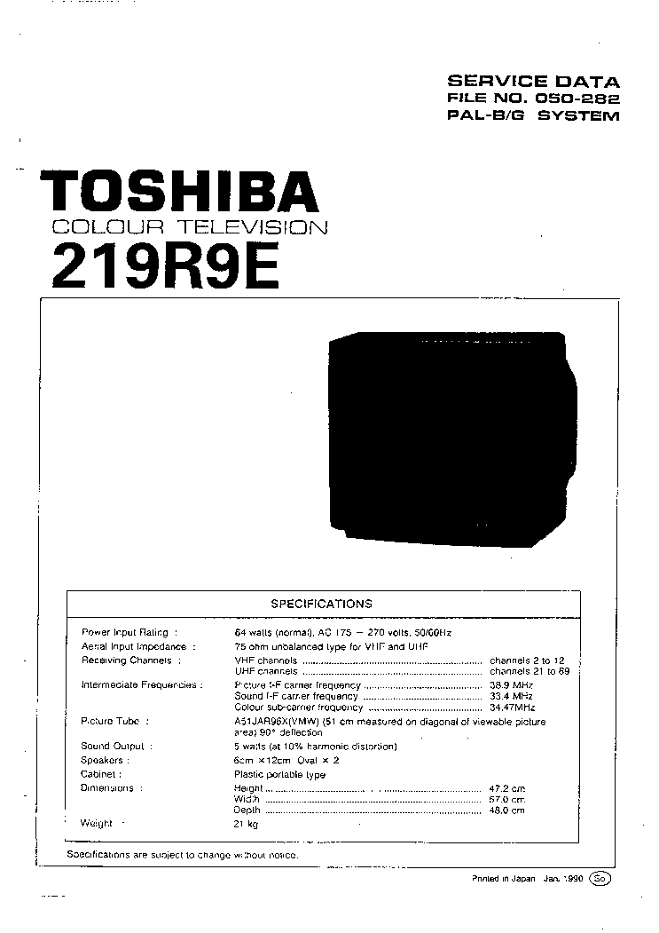 TOSHIBA 219R9E TV SM Service Manual download, schematics