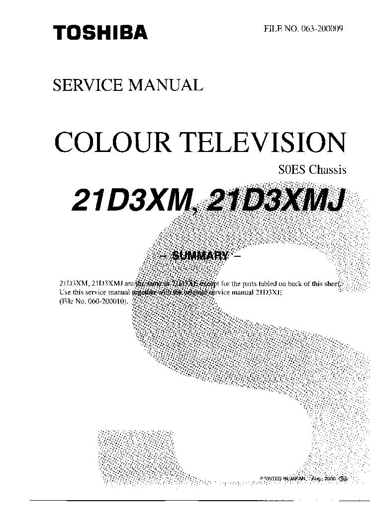 TOSHIBA 21D3XM-21D3XMJ Service Manual download, schematics