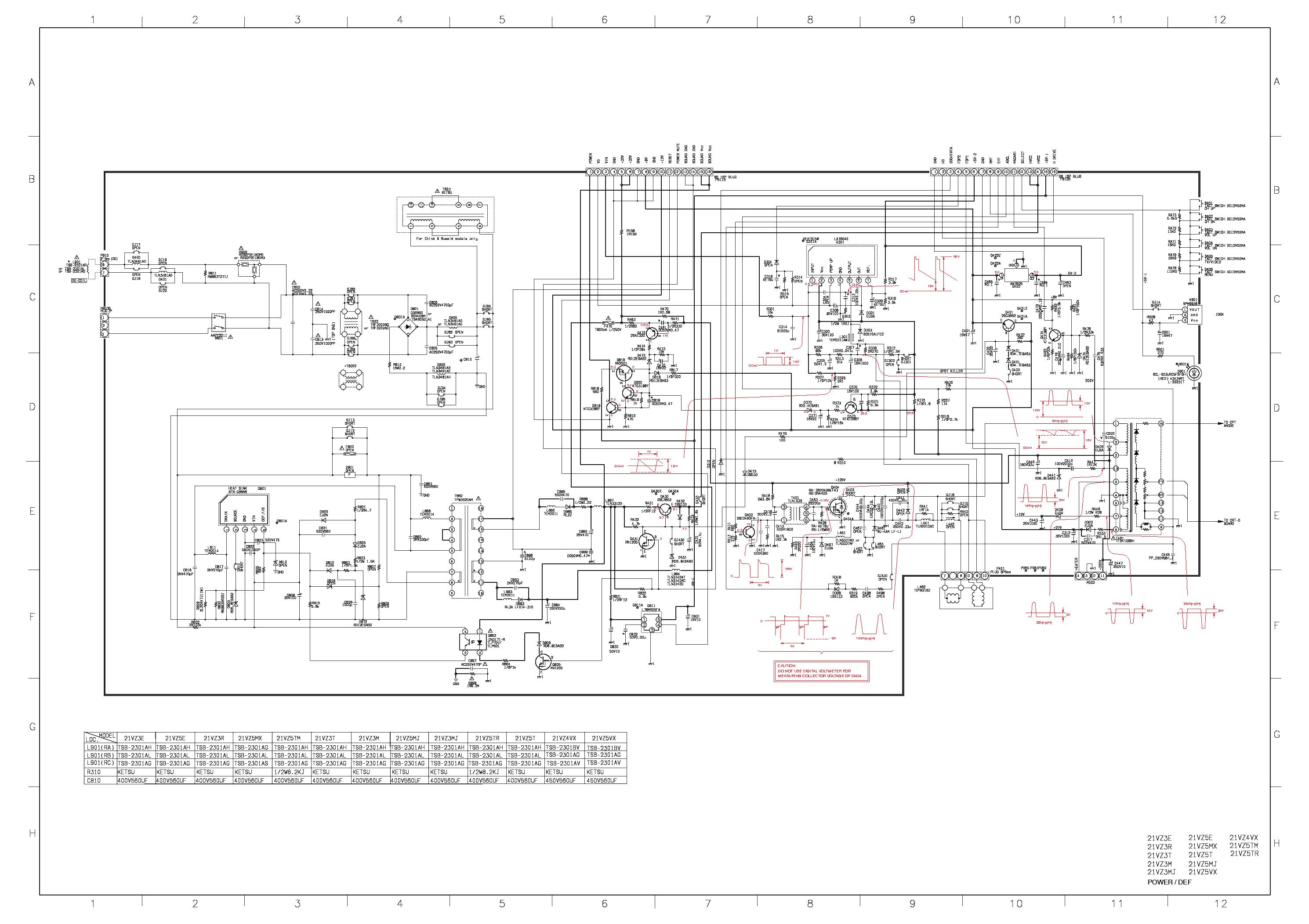 TOSHIBA 21VZ5 SCH Service Manual download, schematics