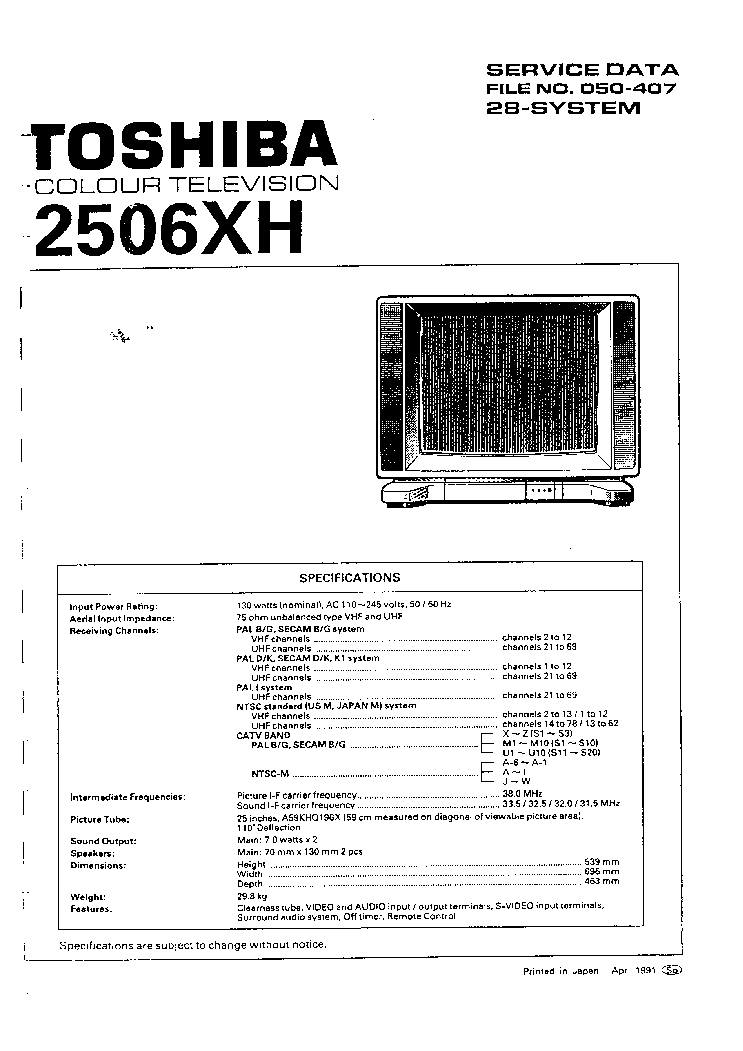 TOSHIBA 2506XH Service Manual download, schematics, eeprom