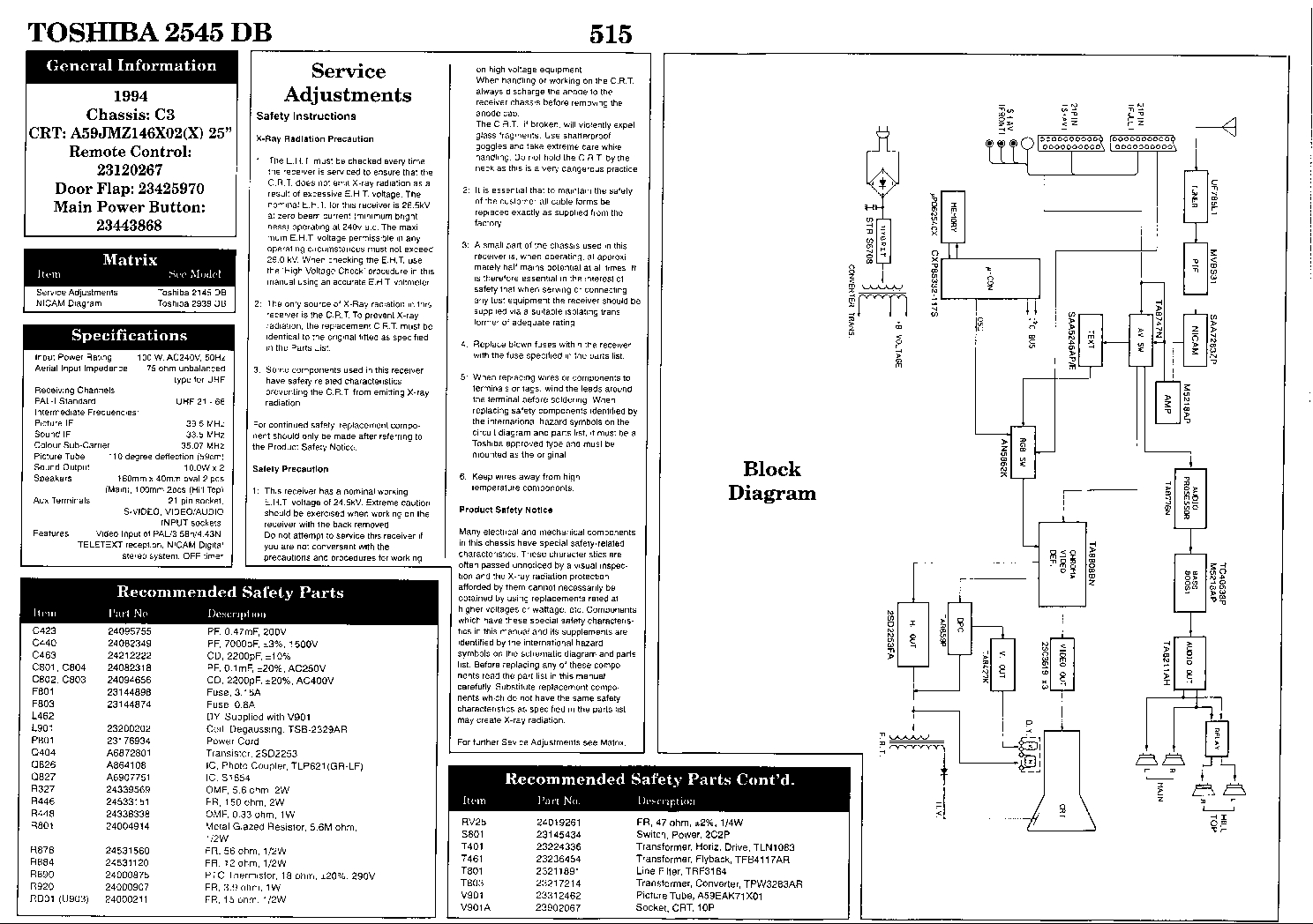 TOSHIBA 2545DB-CHASSIS-C3 Service Manual download