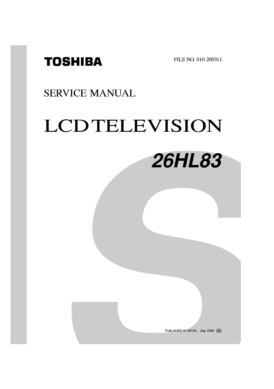 TOSHIBA 26HL83 LCD TV SM Service Manual download
