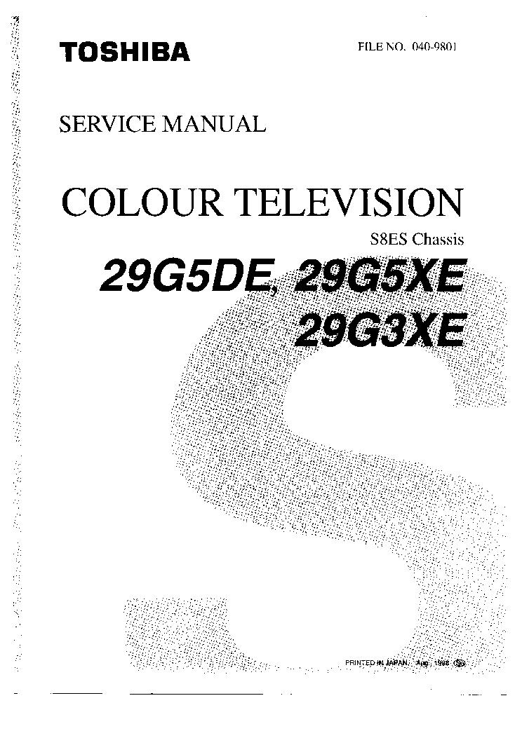 TOSHIBA 29G5DE MANUAL Service Manual download, schematics