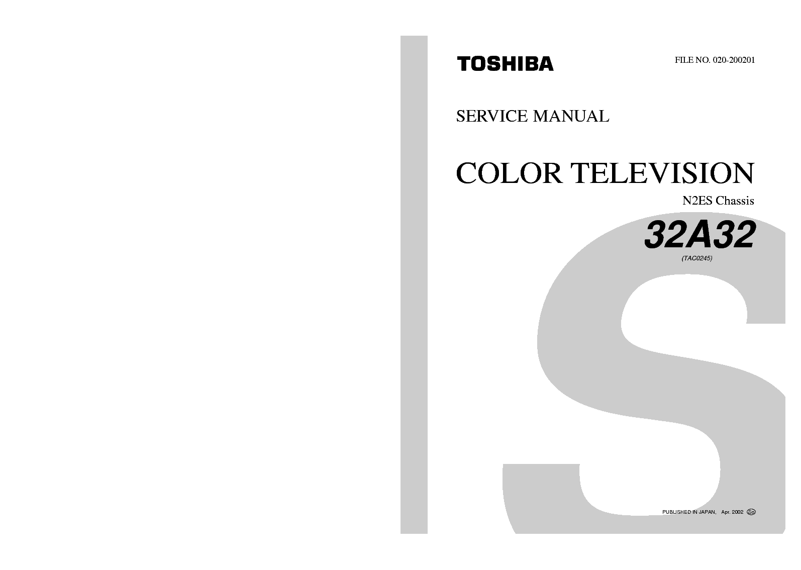 TOSHIBA 32A32-N2ES-SM Service Manual download, schematics