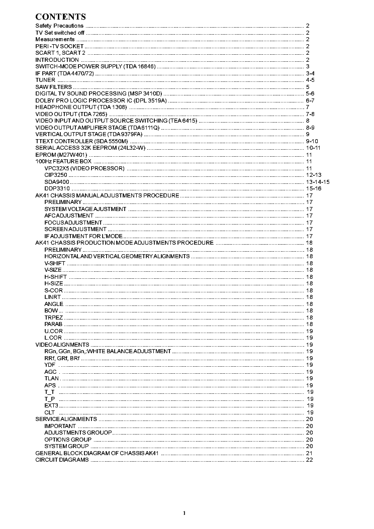 TOSHIBA 33H24G CHASSIS 11AK41 Service Manual download