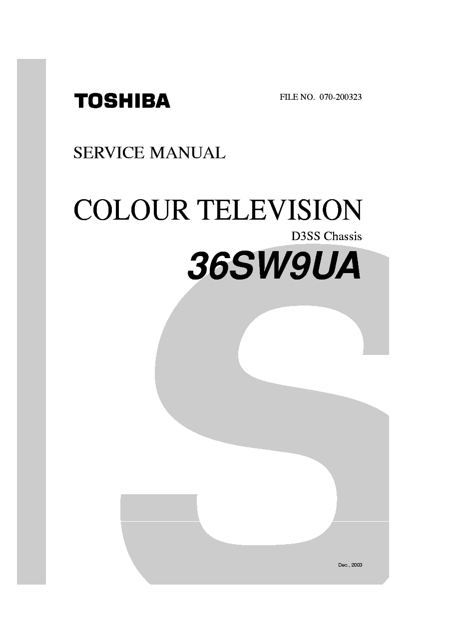 TOSHIBA 36SW9UA CHASSIS D3SS Service Manual download