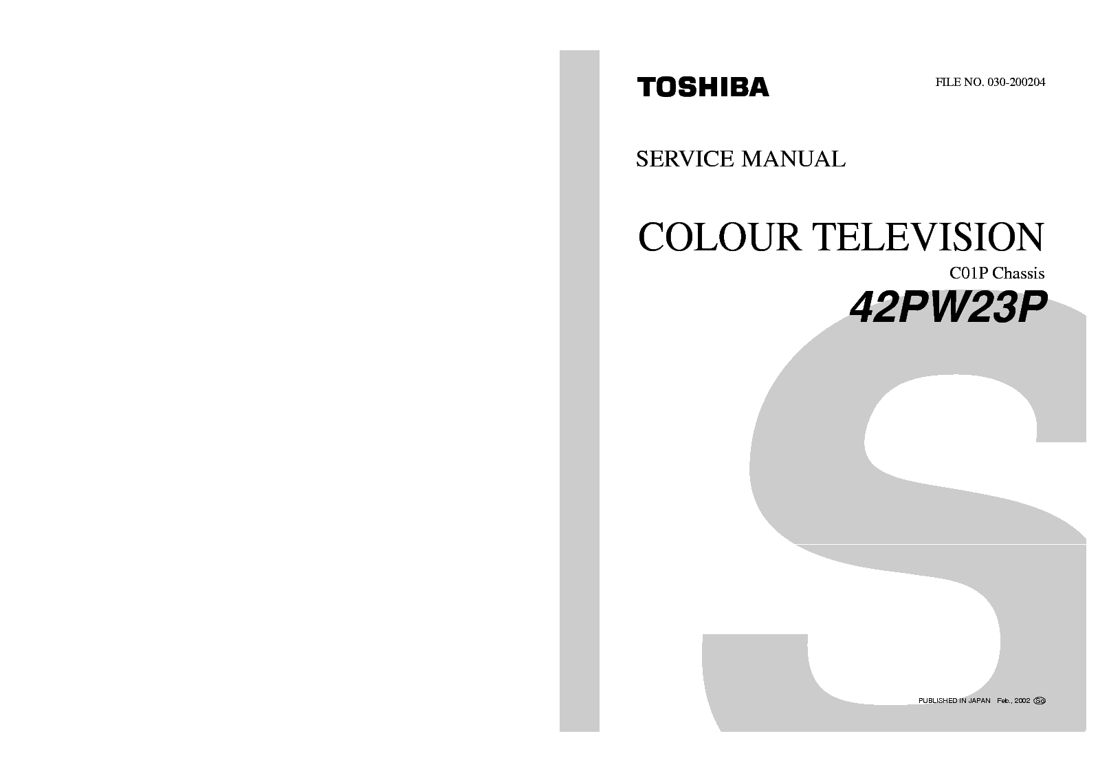 TOSHIBA 42PW23P CHASSIS C01P SM Service Manual download