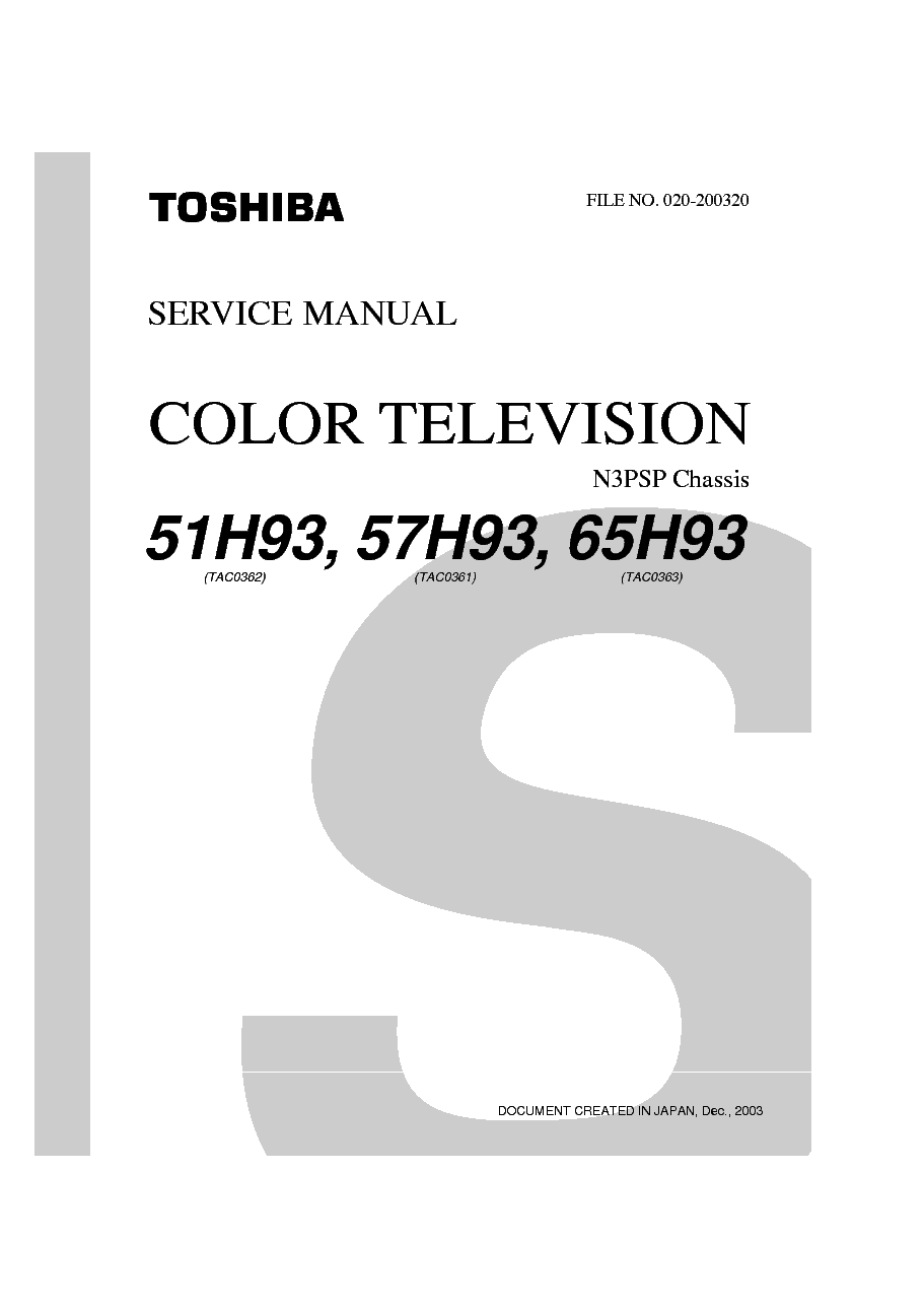 TOSHIBA 51-57-65H93 Service Manual download, schematics
