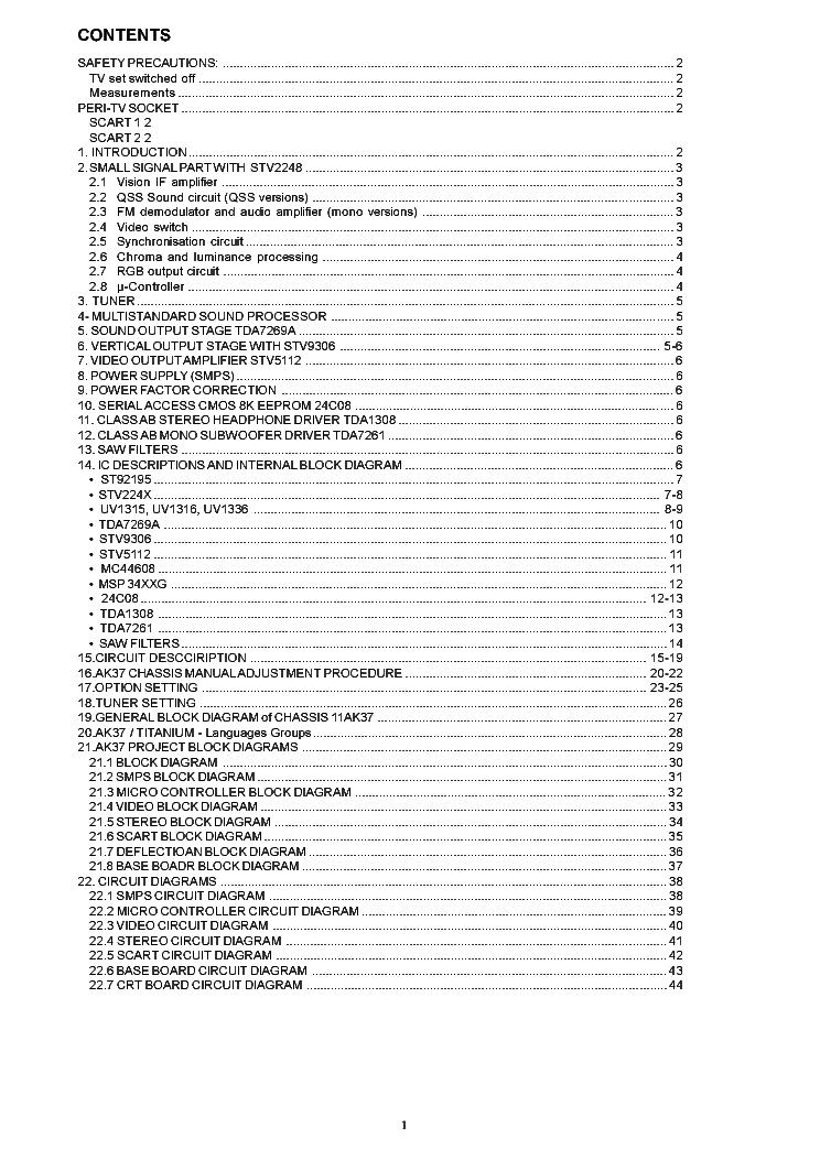 TOSHIBA AK37 CHASSIS 28N33B Service Manual download
