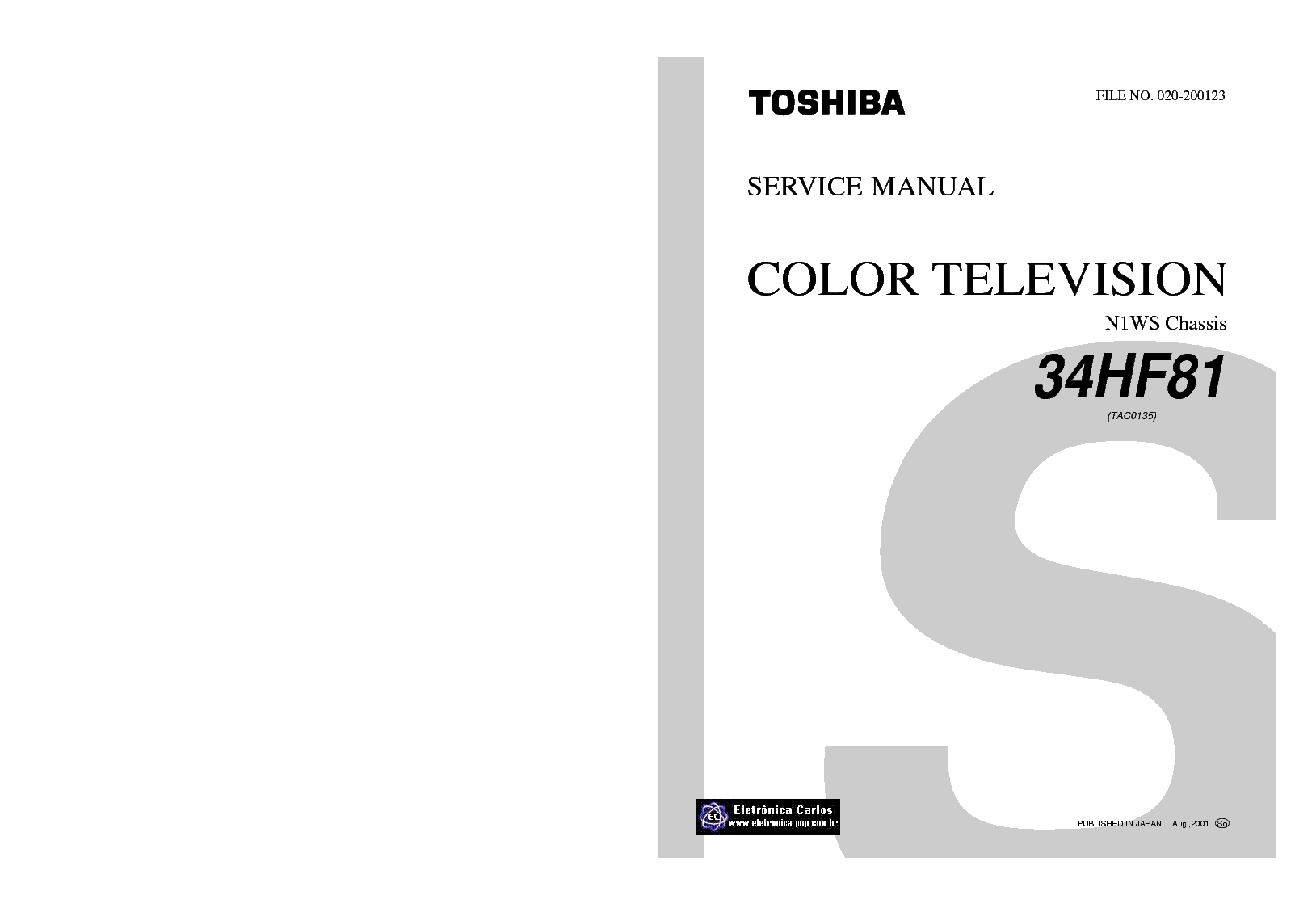 TOSHIBA CH N1WS 34HF81 34HF81F SM Service Manual download