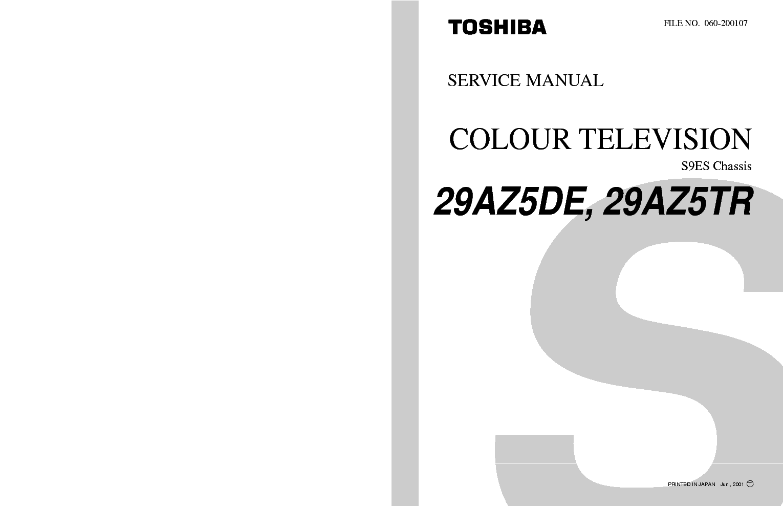 TOSHIBA S9ES CHASSIS 29AZ5DE TV SM Service Manual download