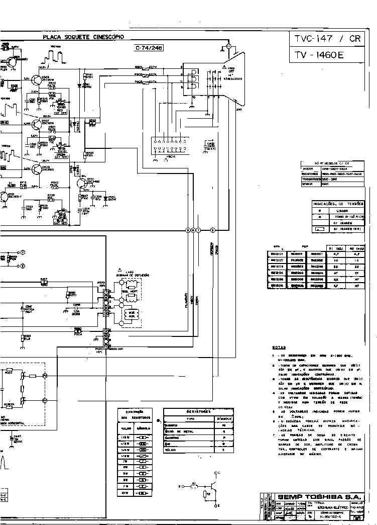 TOSHIBA TV 1460E SCH Service Manual download, schematics