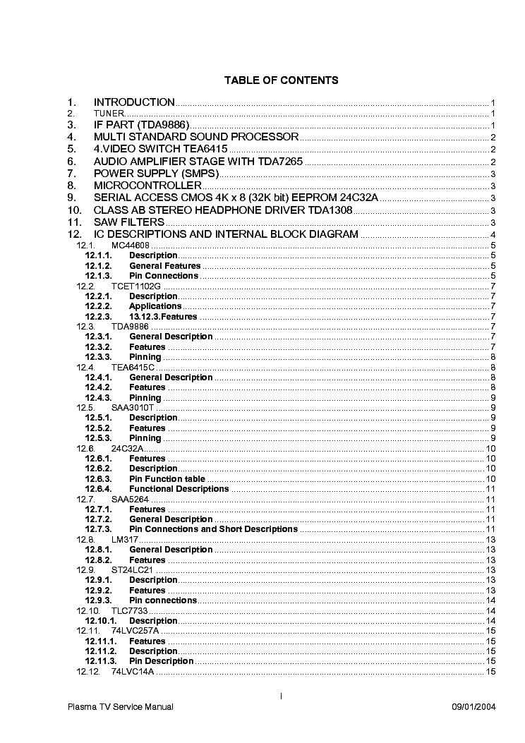 VESTEL 42 INCH PLASMA Service Manual download, schematics